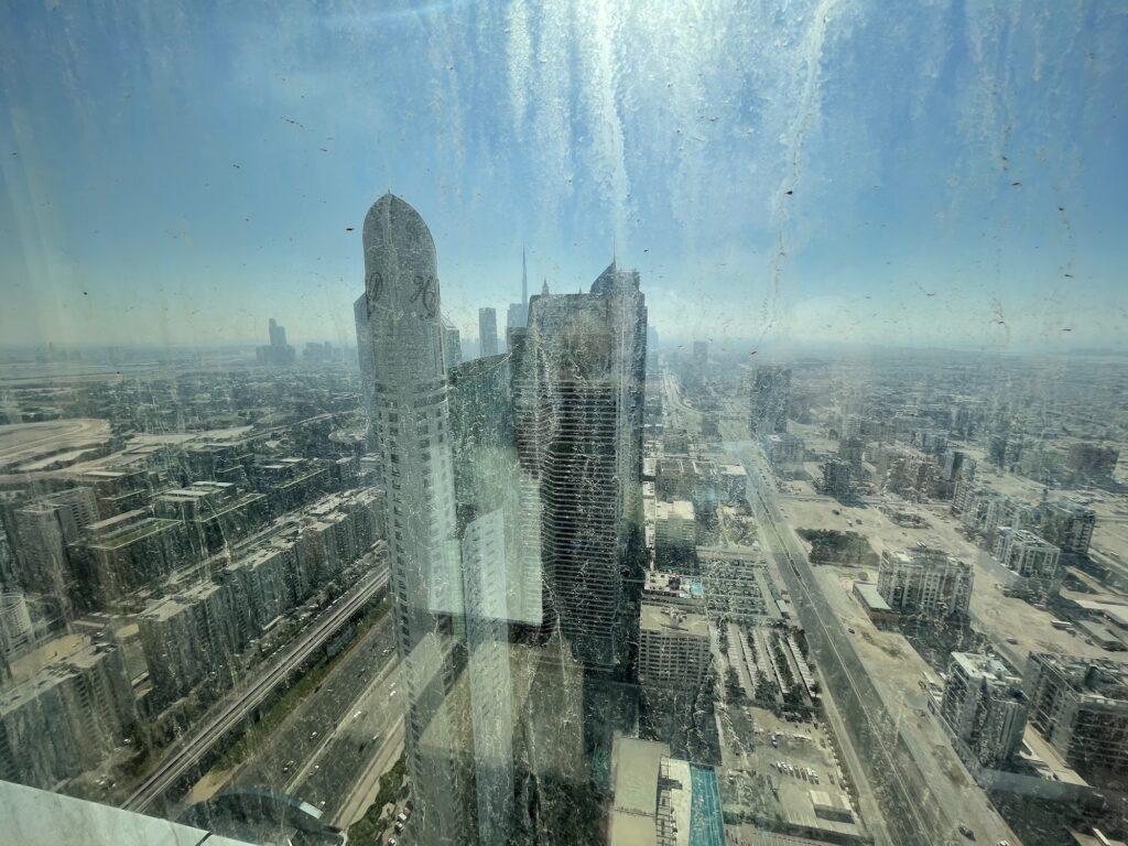 La vista dal 46° piano, si vero i vetri da questo lato erano sporchi