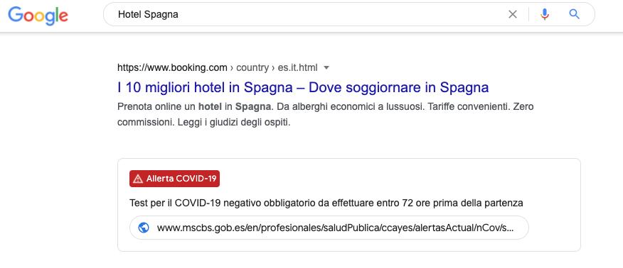 Google Alert restrizioni viaggi