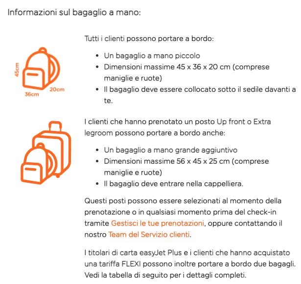 EasyJet - Regole bagagli